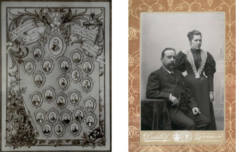Till vänster: 25-års jubileumet 1898 firades bland annat med denna tavla. Fotot hos Olle Meyer. Till höger: Otto och Anna. Foto hos Ylva Meyer.