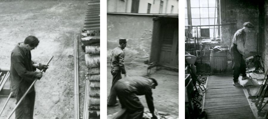Arbete inomhus och utomhus. I mitten syns vedförrådet, och på fotot till höger syns latrinerna som ännu står kvar på gården. Ur Otto Meyers arkiv hos Centrum för Näringslivshistoria.