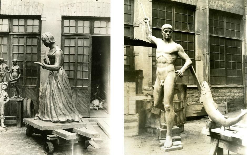 Till vänster Fredrika Bremers staty på gjuteriets gård. Statyn står i Humlegården i Stockholm, avtäckt den 2 juni 1927. Till höger en annan staty på gården. Båda ur Otto Meyers arkiv hos Centrum för Näringslivshistoria.