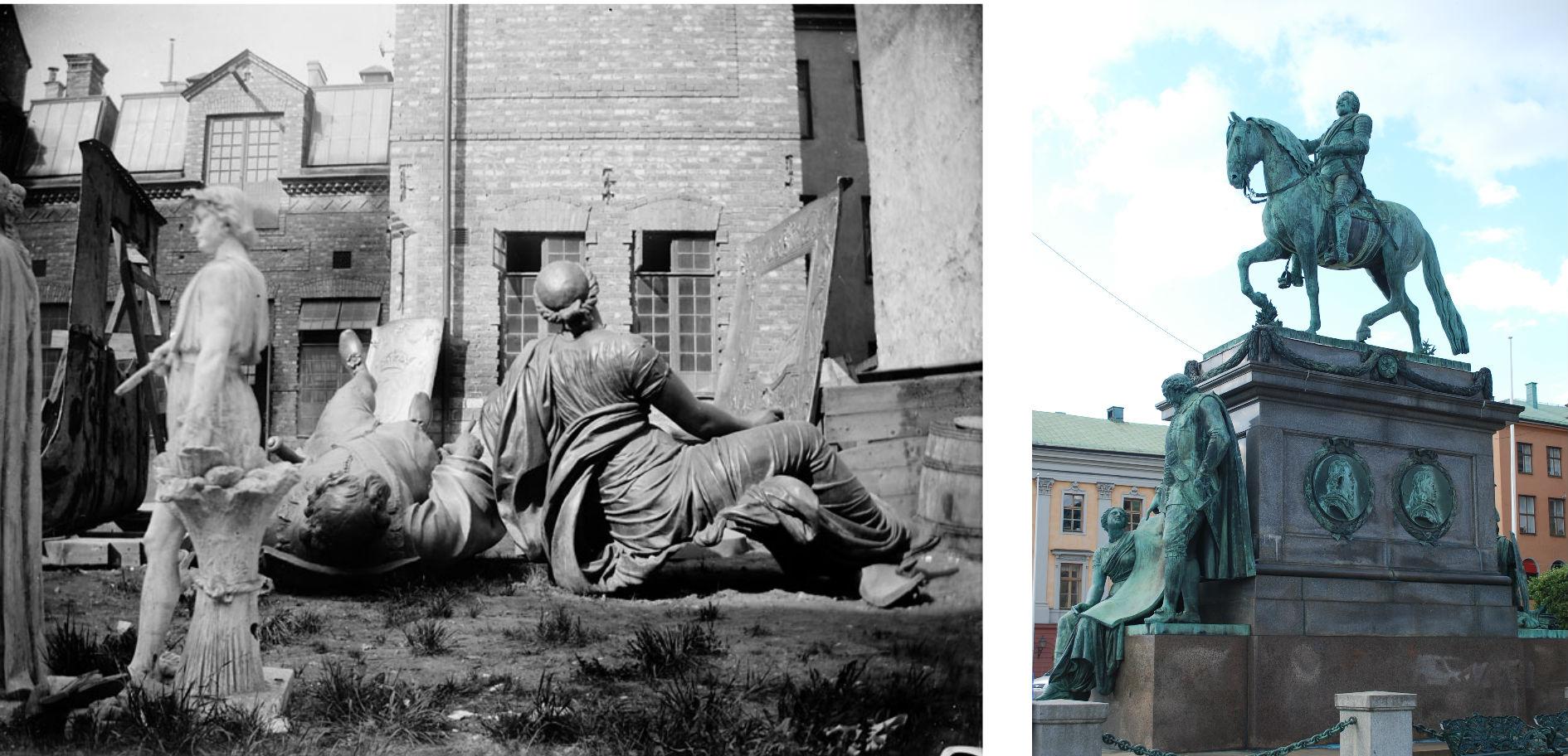 Till vänster: Sergels figurer Clio och Oxenstierna på gjuteriets gård. Foto: Stockholms Stadsmuseum. Till höger: Gustav II Adolfs staty framför Operan, på sockeln syns figurerna som till vänster ännu ligger vilande på marken. Foto av .