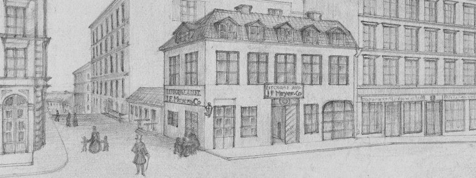 Huset där Otto Meyer föds. Ovanför dörren ser man namnet på faderns verksamhet. Illustration hos Olle Meyer.