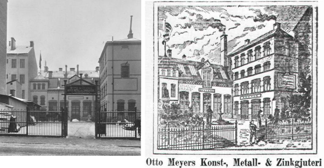 Foto på gjuteriet ca 1905, väggarna rappade men ännu inget gathus. Fotot av G.A. Gustafsson omformades också till vykort. Bägge hos Olle Meyer.