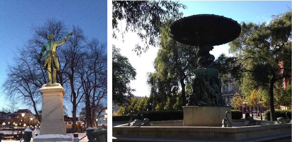 Karl XII och Molins fontän i Kungsträdgården. Otto medverkade som lärling i gjutningen av bägge.