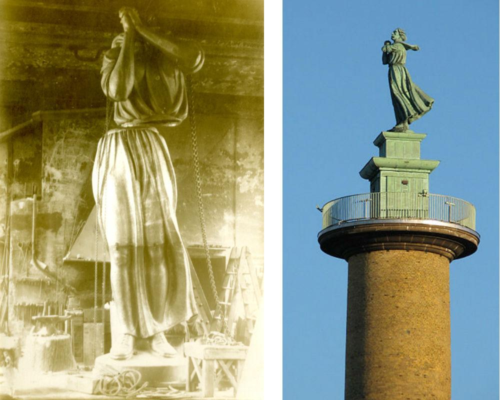 Kvinna vid havet. Till vänster i verkstadsrummet, foto ur Otto Meyers arkiv hos Centrum för Näringslivshistoria. Till höger statyn på plats utanför Sjöfartsmuseet i Göteborg, foto Rolf Broberg.