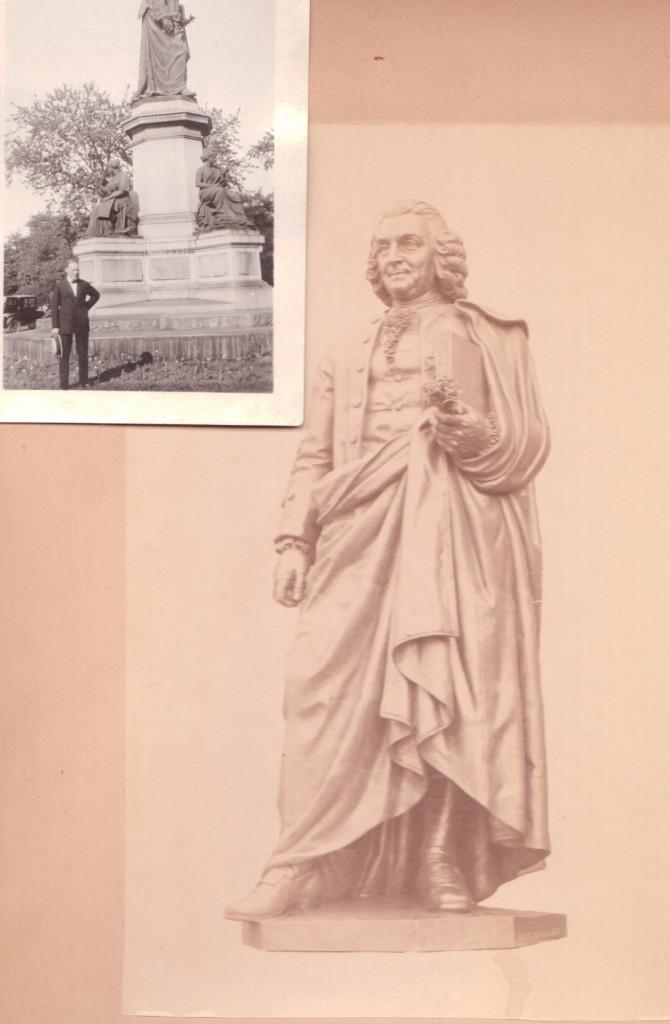 Linné i Lincoln Park. Ett amatörfoto på Fritz Meyer d.y. samt en professionell bild av statyn. Foton: Hos Olle Meyer.