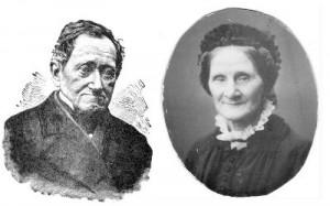 J F Meijer och Therese Meijer. Litografi av W Meyer (Ottos bror). Foto av (källa? Hos Olle?)