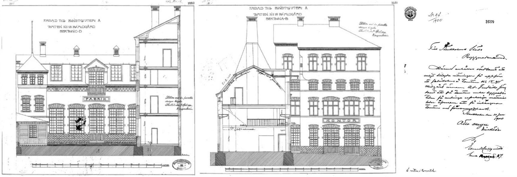 Ursprungliga ritningar och brev för ansökan om bygglov till Byggnadsnämnden år 1900. Dokument hos Teknisk nämndehus.
