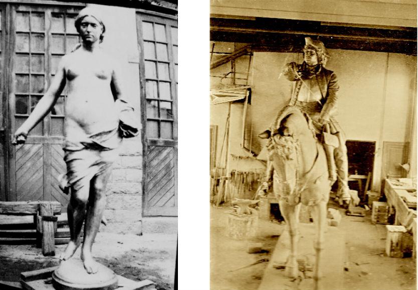 Till vänster: Hasselbergs Såningskvinnan på gjuteriets gård ur Otto Meyers arkiv hos Centrum för Näringslivshistoria. Till höger: John Börjesons ryttarstaty av Magnus Stenbock i verkstadsrummet. Statyn avtäcktes den 3 december 1901 på Stortorget i Helsingborg. Foto VART!