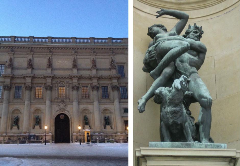 Slottets södra fasads statygrupper (fyra stycken). Till vänster syns Pluto (Hades) och Proserpina av Jacques Foucquet d.ä.. Foto Christian Buchberger.
