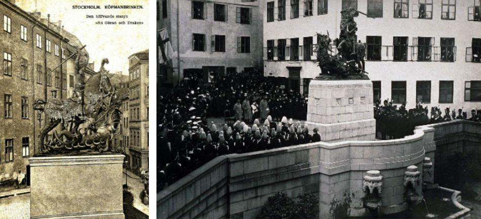 Till vänster: Fejkad bild av den blivande statyn av St Göran och Draken. Vykort hos Olle Meyer. Till höger: