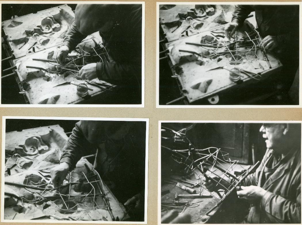 Tillverkning av stommen till en ihålig kärna inuti en gjutning. Ur Otto Meyers arkiv hos Centrum för Näringslivshistoria.