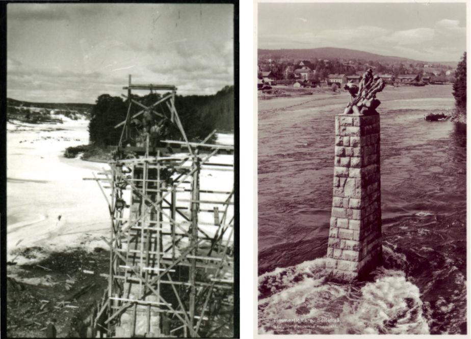 """Till vänster: montering på plats av """"Timmerflottarn"""" ur Otto Meyers arkiv hos Centrum för Näringslivshistoria. Till höger: den färdiga statyn, gammalt vykort."""
