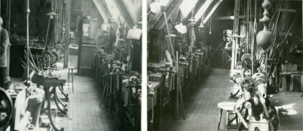 Interiör från svarvarverkstad två trappor upp. Ur Otto Meyers arkiv hos Centrum för Näringslivshistoria.